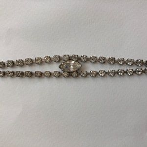 Vintage Rhinestone Bracelet with Center Stone